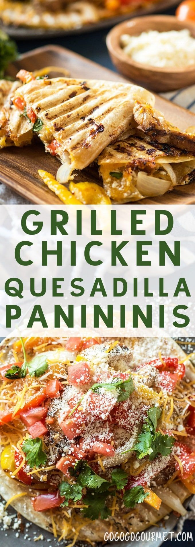 Grilled Chicken Quesadilla Paninis are a great weeknight meal- fast, convenient, tasty and NO dishes!! @gogogogourmet via @gogogogourmet