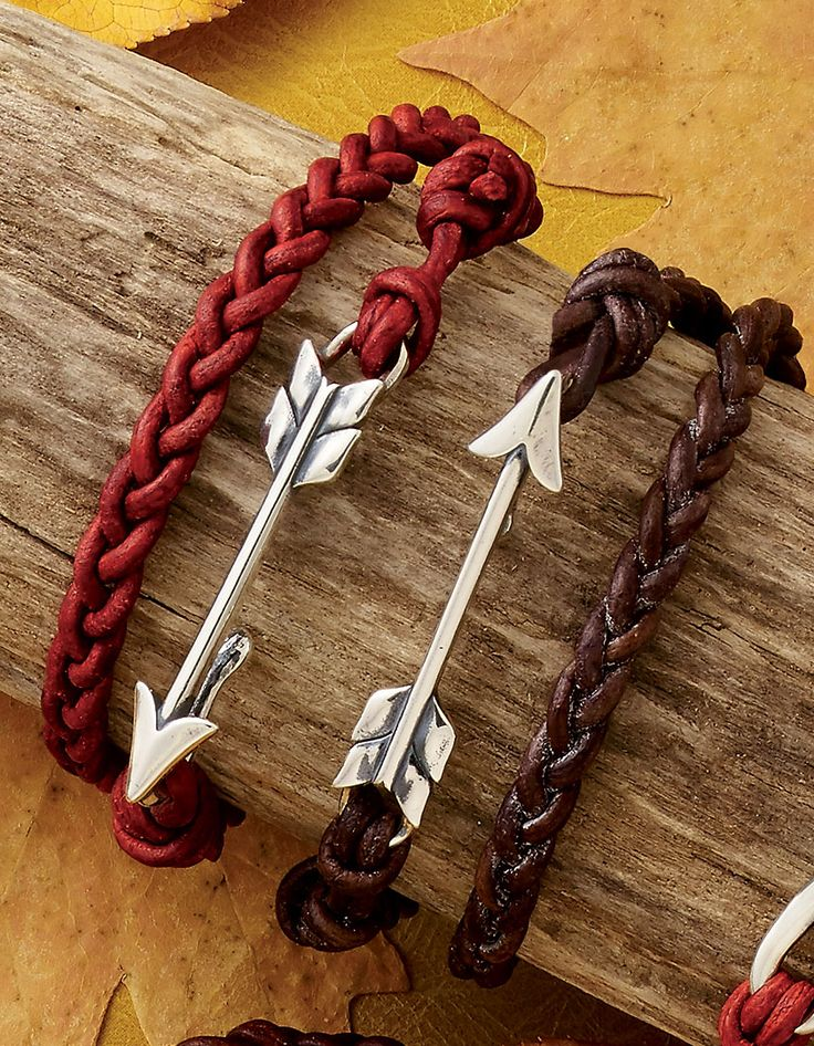 Fall Collection - Soaring Arrow Leather Bracelet in Red and Brown #JamesAvery
