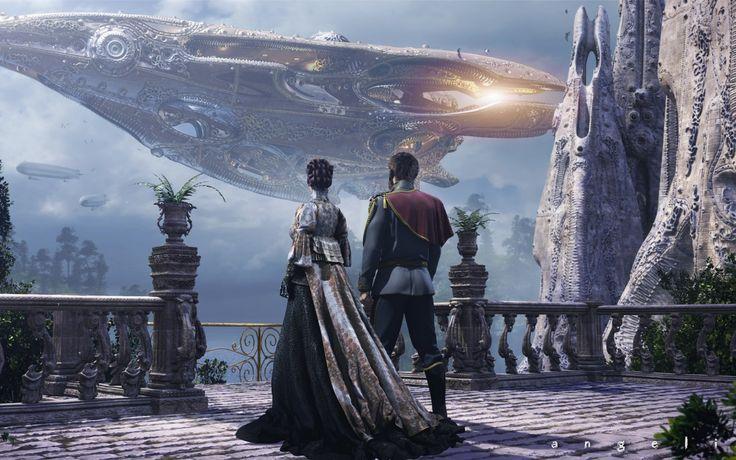 Скачать обои корабль, будущее, дюна, раздел фантастика в разрешении 1440x900