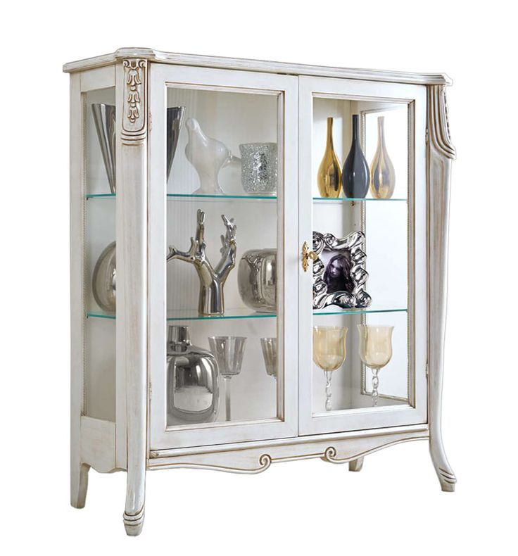"Display cabinet ""Beautiful line"" - ItalianStyle by ArteFerretto. Wooden display cabinet in classic style. Italian design living room furniture. Lacquered display cabinet. White furniture"