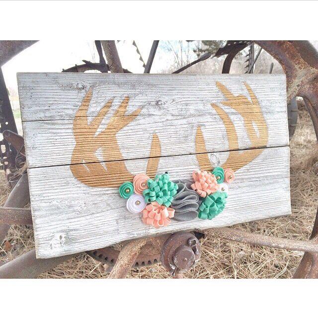 Felt flower antler wood sign - Deer antler reclaimed wood sign embellished with wool felt flowers now available.  Find us on facebook at https://www.facebook.com/pages/Freckled-Fancy-Creations/815566881807180 or instagram @freckledfancy