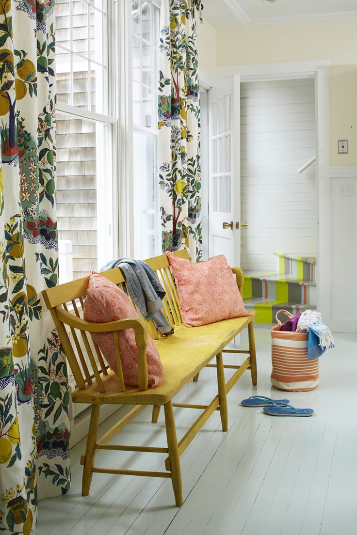 colorful beach cottage foyer bench