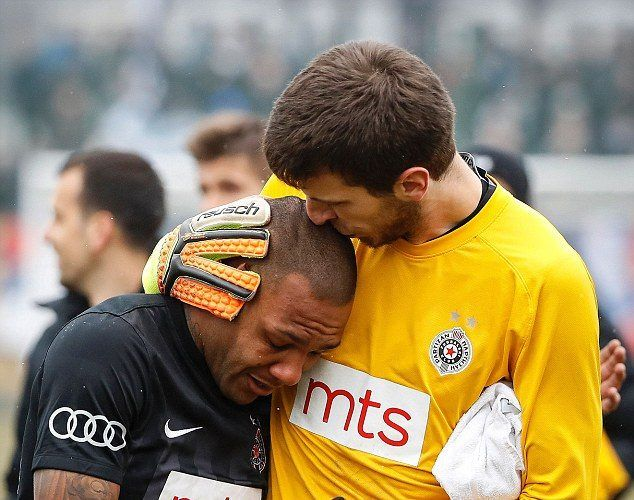 BRAZILIAN FOOTBALLER REDUCED TO TEARS AFTER SEVERE RACISM BY SERBIAN SUPPORTERS WHO MADE MONKEY NOISES EVERY TIME HE TOUCHED THE BALL