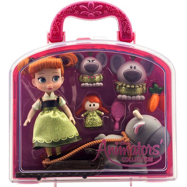 Disney Frozen Animators' Collection Anna Mini Doll Set ($30) ❤ liked on Polyvore featuring toys