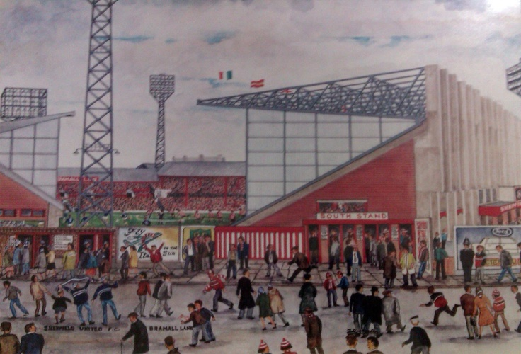 Detail from a Jerry Gorman painting of Bramall Lane, featuring the South (Arnold Laver) Stand, courtesy of Andrew Laver.  http://sphotos-c.ak.fbcdn.net/hphotos-ak-prn1/735636_546643162015301_782848838_o.jpg
