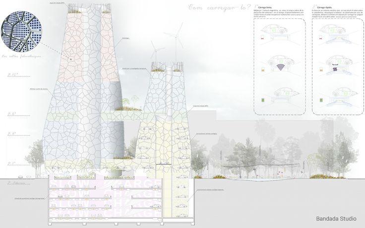 Architectural elevations, Archmedium International Competition, by Bandada Studio.