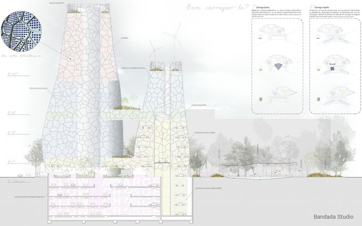 Architectural elevations, Archmedium International Competition, by Bandada Studio.