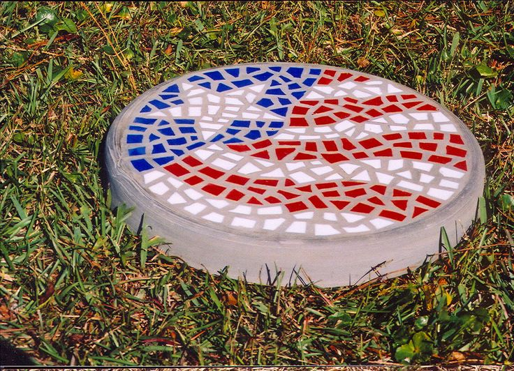 """Red White and Blue - Handmade Stained Glass and Concrete Stepping Stone - 14"""" Round by HippMosaics on Etsy https://www.etsy.com/listing/196833897/red-white-and-blue-handmade-stained"""