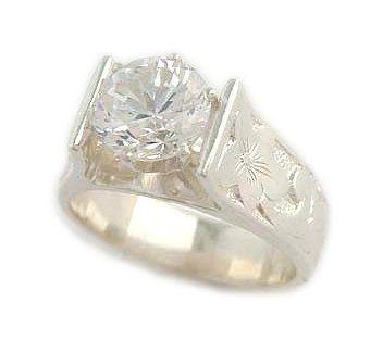 1.5ct French Mount Hawaiian Heirloom Jewelry Silver Wedding Ring