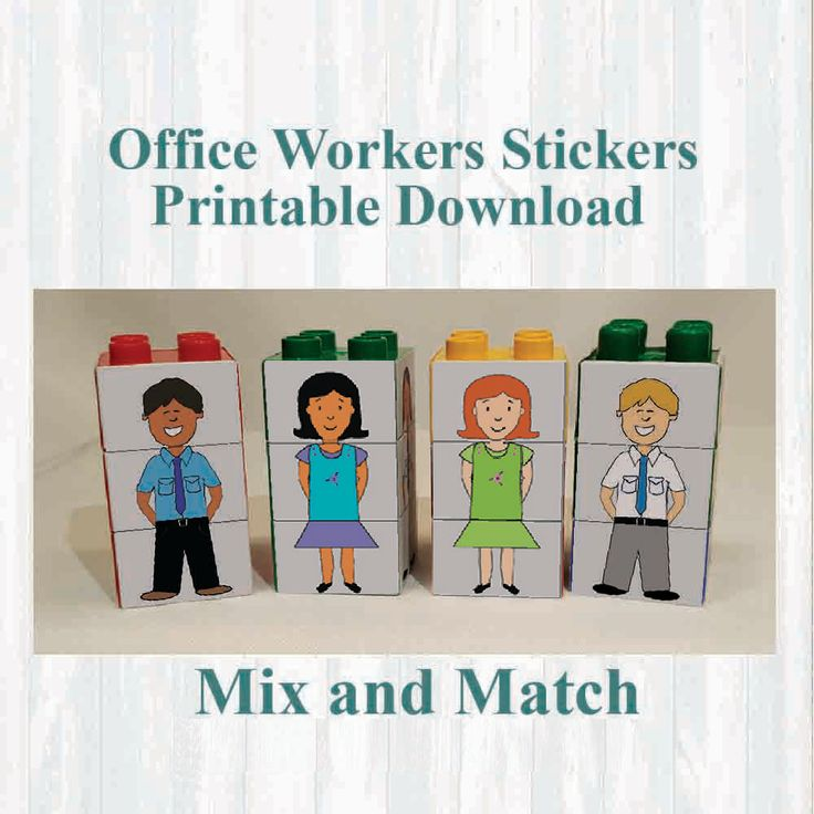 Office workers Stickers,Fridge magnets, Building blocks. Fits on Lego, Instant digital download Printable by MoonGloCreations on Etsy
