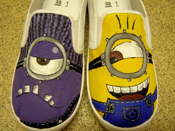 Custom hand painted canvas shoes to order Dispicable Me 2 two minions