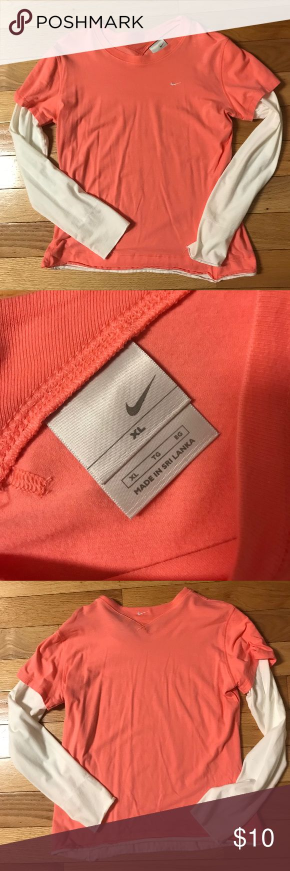 Nike layered look long sleeve T-shirt Ladies Coral and white one piece layered look Nike long sleeve tee...barely worn...great condition Tops Tees - Long Sleeve