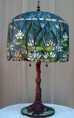 Tiffany Style Stained Leaded Glass Lotus Water Lily Pond Lamp Mosaic Base | eBay
