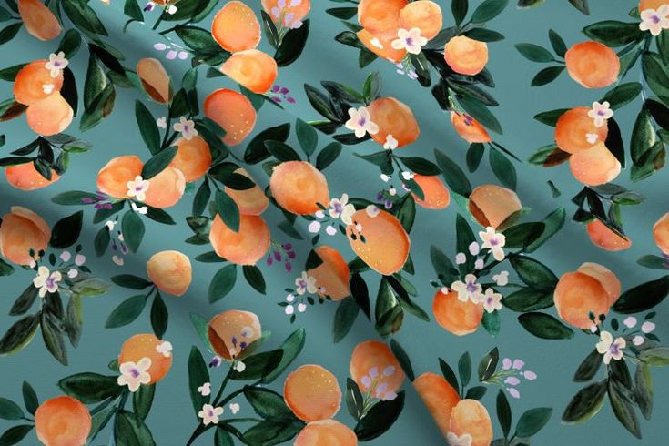 Colorful fabrics digitally printed by Spoonflower – Dear Clementine oranges – teal – diy