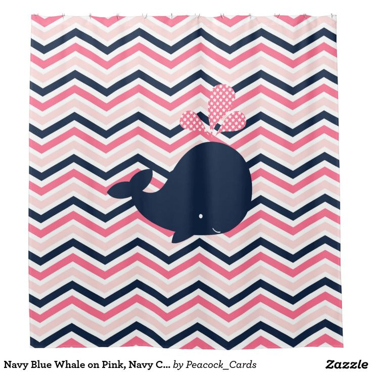 navy blue whale on pink navy chevron stripes shower curtain