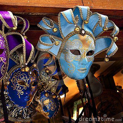 Blauwe Venetiaanse Maskers Venetië Italië