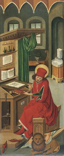Saint Mark the Evangelist. Panel in the Altar of the Four Evangelists by Gabriel Mälesskircher, c. 1478 (Munich). Now in the Museo Thyssen-Bornemisza, Madrid.