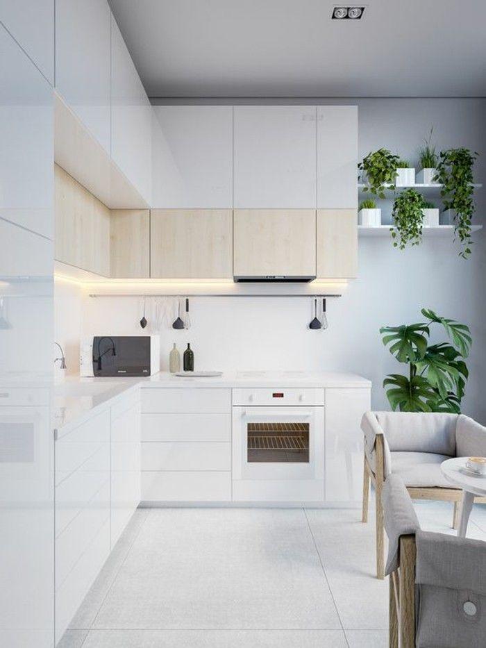 Kuche In Weiss Mit Fliesen Als Bodenbelang Und Regalen Mit Grunen Pflanzen Kuchendesign Modern Kuchendesign Kuchen Design