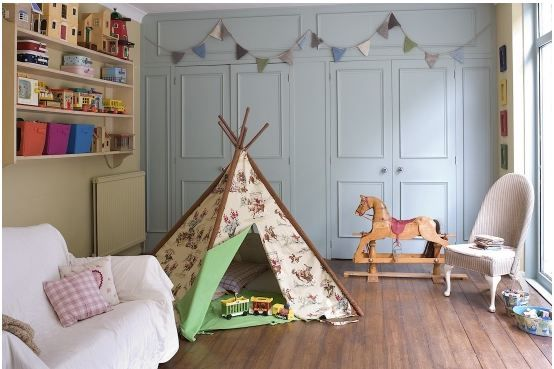 teepee and rocking horse in playroom