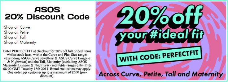 20% OFF with code PERFECTFIT on ASOS Curve, Petite, Tall, Maternity. http://www.codesium.com/asos-discount-code/ Other restrictions may apply.