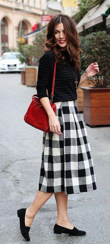 gingham skirt + loafers.