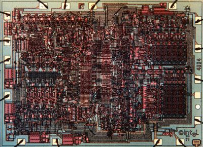 1971: Intel 4004 (4 bit) - The First Microprocessor on the Market  Originally designed for use in a Busicom scientific calculator, but Intel engineers realized the design of the chip afforded multi-purpose use - thus the microprocessor was born. The 4004 contains 2000 transistors and is a 4-bit microprocessor capable of processing 4 bits of information at a time at a rate of about 0.06 MHz.  The 4004 found widespread use, including being used on the Pioneer 10 spacecraft launched in 1972.