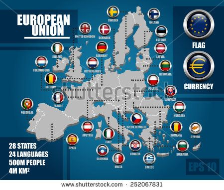 European Union Infographic Map with Member States Badges and Flag and Currency Symbol and Simple Info, EPS 10