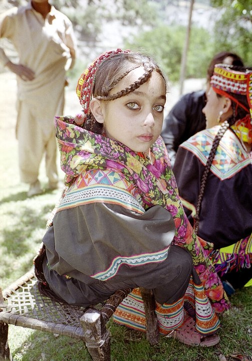 The Kalash live on the fringes of northern Pakistan, the only ones in the region not following Islam. Their genetic make-up is so pure and distinct, that they are unlike other human races, thanks to their evolving DNA and rare alleles.  Few look as  Caucasian as this girl, but their gene pool creates great variation.