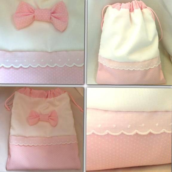 Bolsita para la merienda en rosa y blanco con lacito
