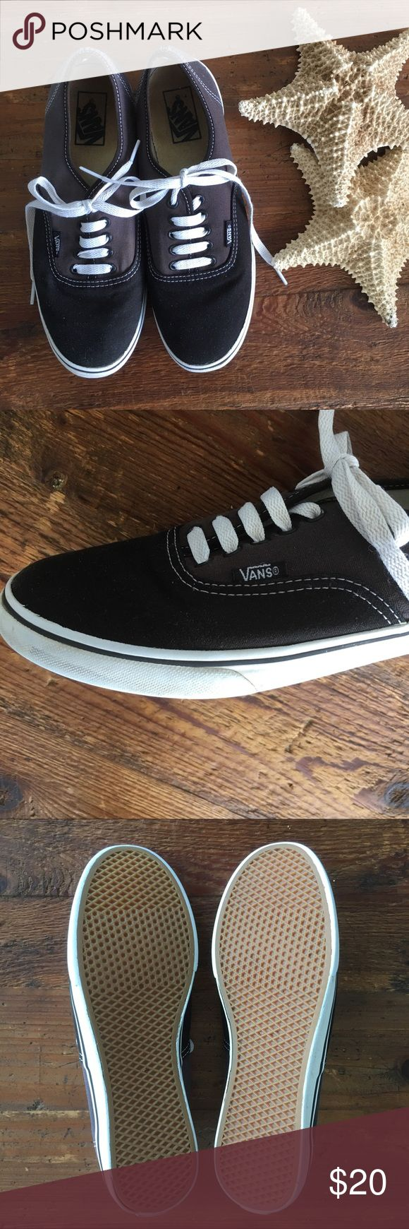 VANS two tone canvas board shoes Jet black and slate gray canvas VANS in excellent condition. The interior sole has slight normal discoloring as shown in photos. The exterior is in fantastic condition! Completely sanitized and ready to wear! Shoes Sneakers