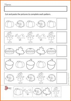 Math Worksheets & Activities - Autumn (Beginning Skills). A page from the unit: cut and paste patterns