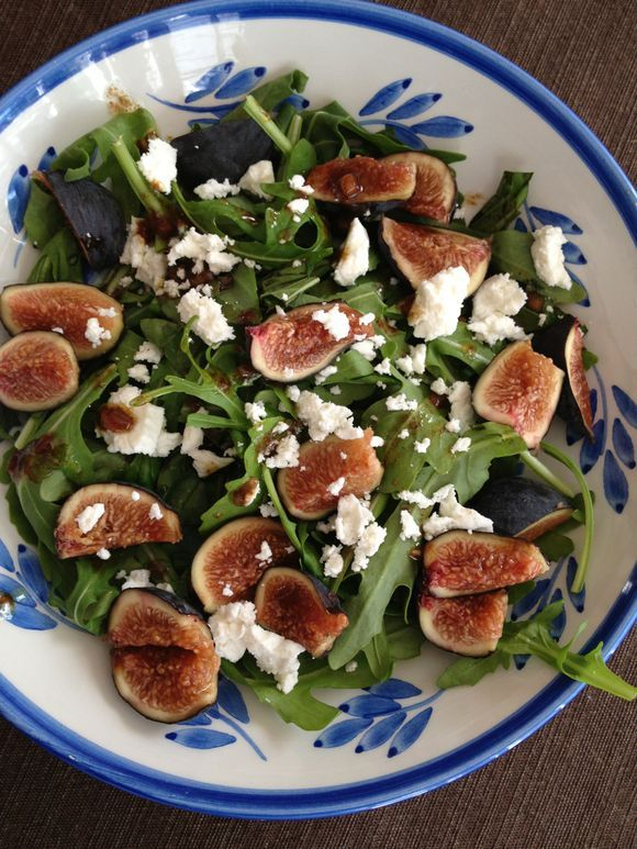 Figs with Basil, goat cheese, and pomegranate vinaigrette from Plenty by Yotam Ottolenghi