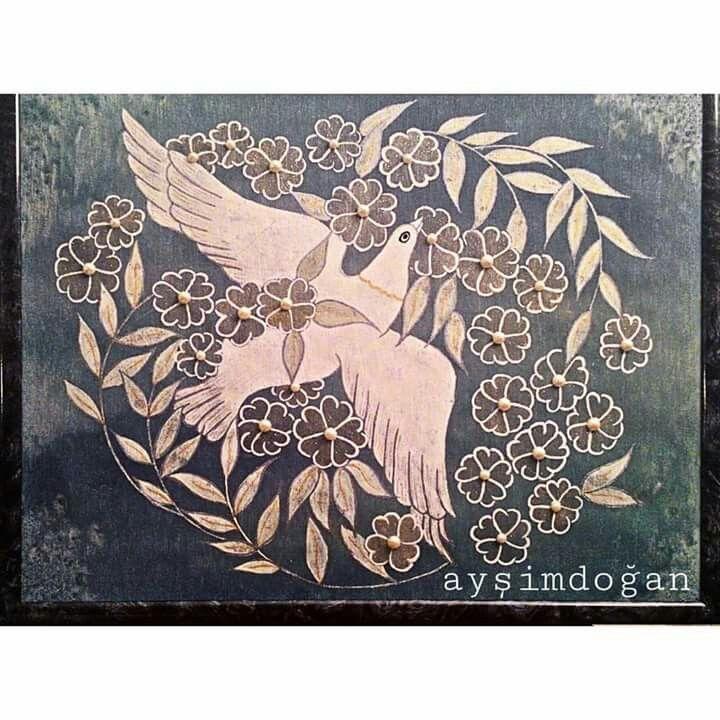 Duvar panosu #kumas boyama#sulu boya #barış