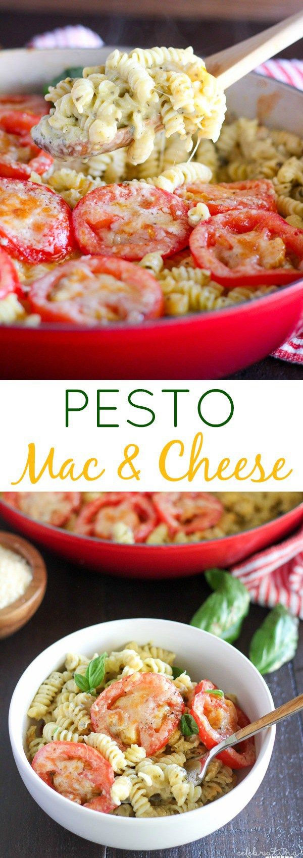Pesto Macaroni and Cheese - An easy and flavorful one-pot meal of macaroni and…