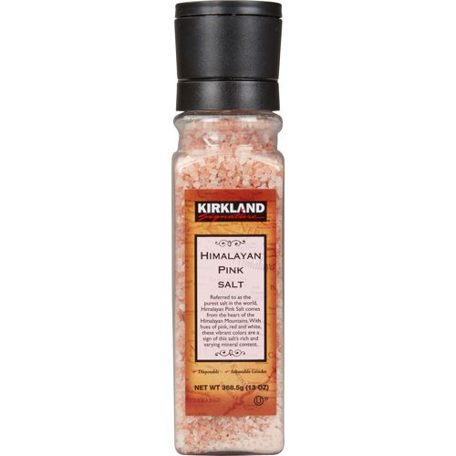 Kirkland (Costco) Himalayan  Pink Sea Salt.  Contains at least 84 naturally occurring minerals. Regulates water content and acidity in body.
