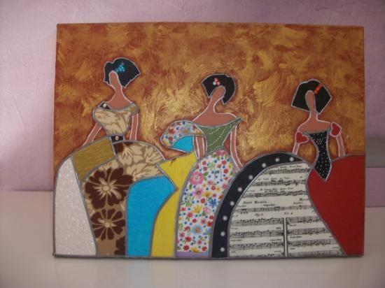 menina moderna trillizas lienzo,papel decoupage,pintura a mano