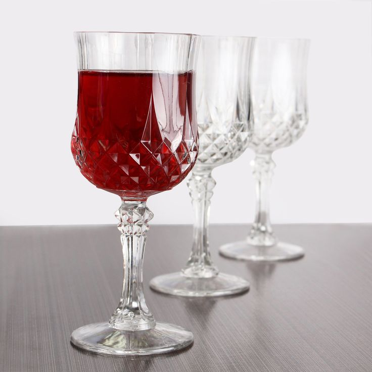 Posh Party Supplies - 10 oz Crystal Plastic Wine Glasses - 4 Glasses, $8.89 (https://www.poshpartysupplies.com/10-oz-crystal-plastic-wine-glasses-4-glasses/)