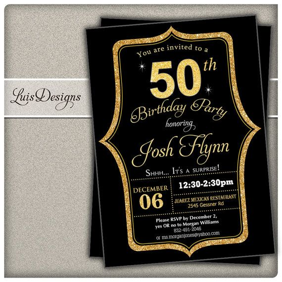 7 best 50th birthday invitation black suit birthday party golden 50th birthday invitation black and gold 50th by luisdesigns filmwisefo Choice Image