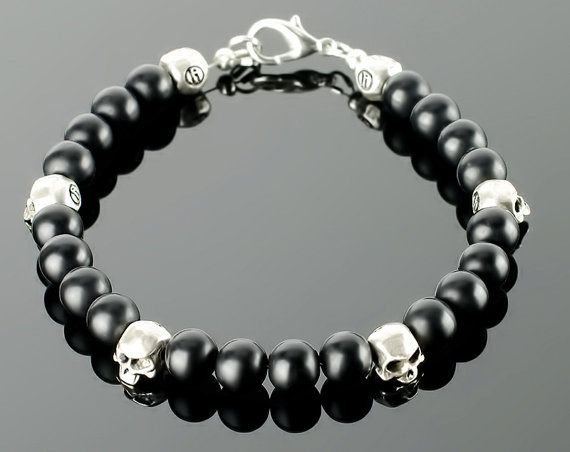 Mens Skull  Skull bracelets for men with black di lililio su Etsy