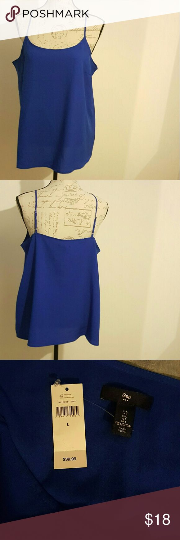 NWT Gap Woman's Sleeveless Flowy Camino Tank Top Active Blue Flowy tank top.   New with tags!! GAP Tops Tank Tops
