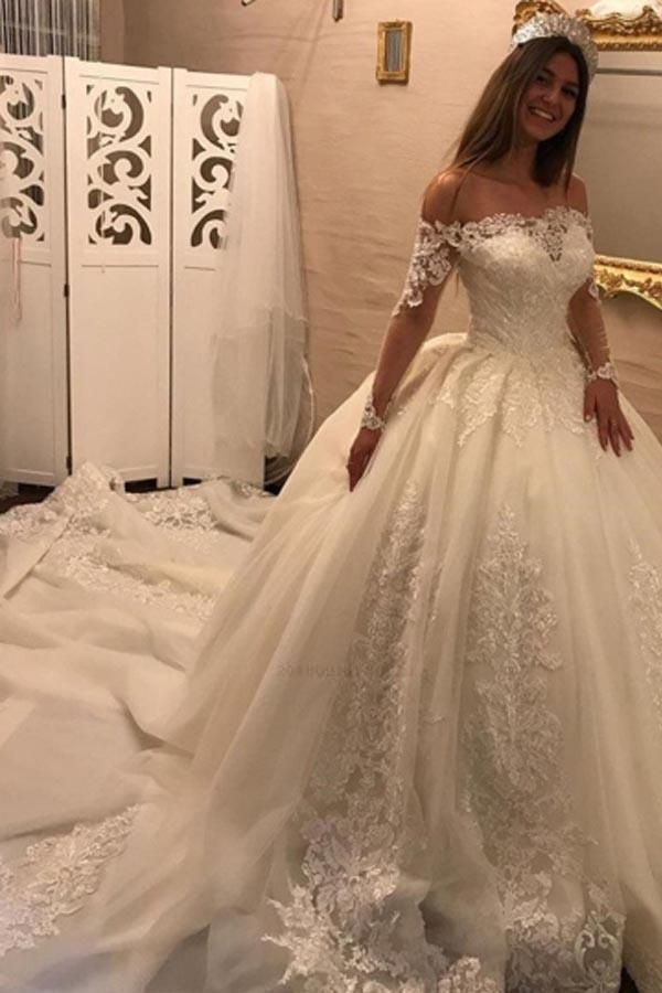 Outlet Colorful Appliques Wedding Dresses, Ball Gown Wedding Dresses
