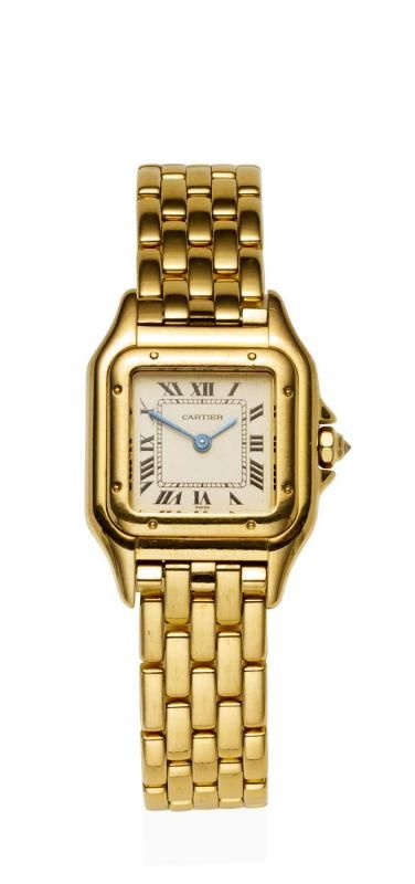 A Lady's gold Panthere wristwatch, Cartier, circa 1996. Quartz. 22mm. Ref:1280 2. Serial number: M202404. Octagonal case with square cream dial and painted black Roman numerals. Case, dial, movement and bracelet signed. Original brick link bracelet and deployant clasp. 18ct yellow gold. Total weight 67.93 grams. Extra link. Original box, papers and swing tag. - Price Estimate: $3200 - $3800