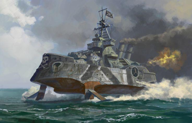Sci-Fi Warships | Hydrofoil Steamer Picture (2d, illustration, sci-fi, ship, pirates)