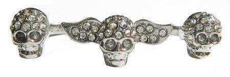 Anel duplo 3 caveiras asa #skull #ring #caveira #anel