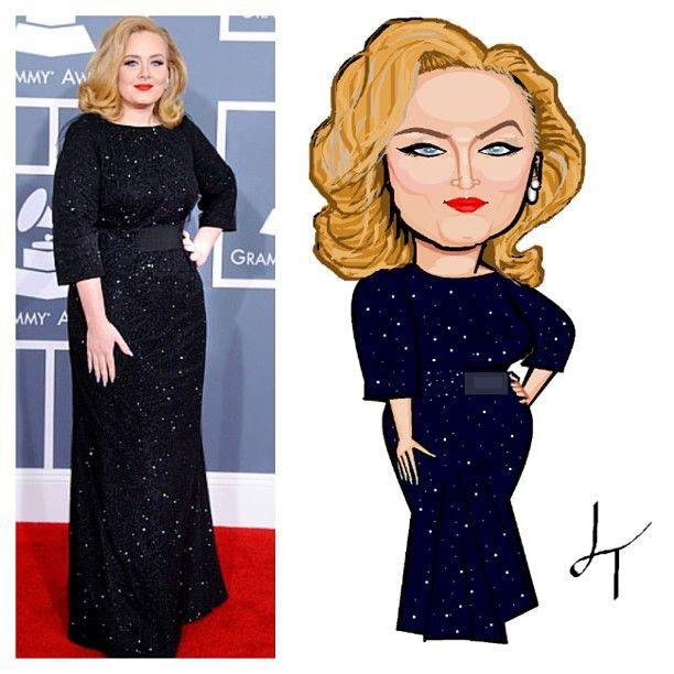 Adele Caricature #art #adele #cartoon #paint #caricature #grammys #music