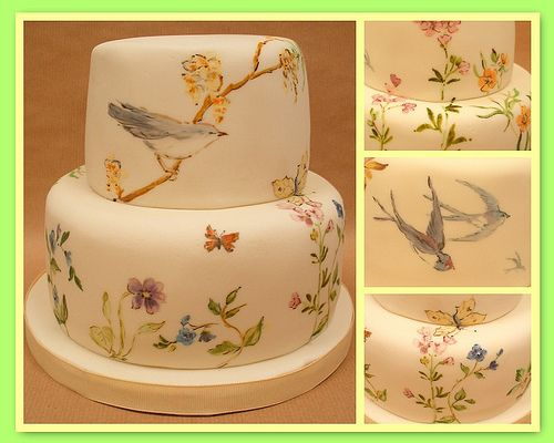 spring-wedding-cake fondant cupcakes painted white lavender green blue orange ivory beige brown birds yellow