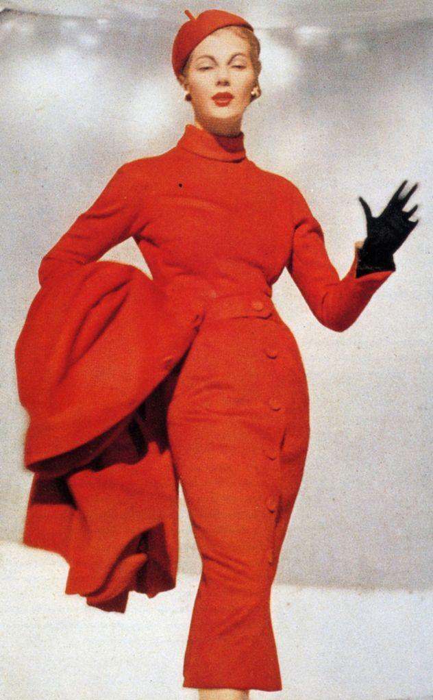 1953 Dior red-pepper wool, turtle-necked sheath dress & coat www.vintageclothin.com
