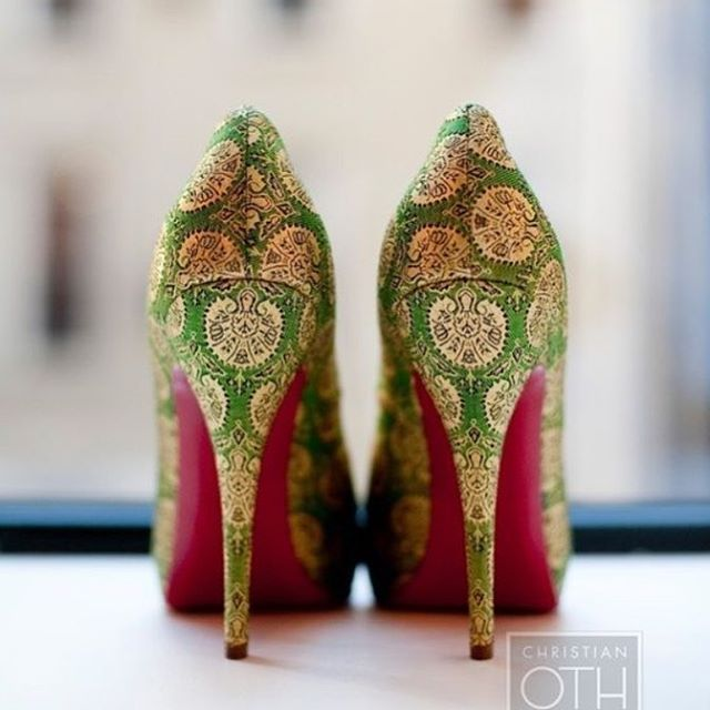 Shoes fit for an Indian bride if we ever saw any . Green brocade with red soles | See more shoe ideas on WedMeGood.com  #shoes #bridalshoes #heels #stilletoes #indianbride #bridalheels #brocade #bride #brides #wedding #weddings #indianbrides #weddingday #indianfashion #fashion