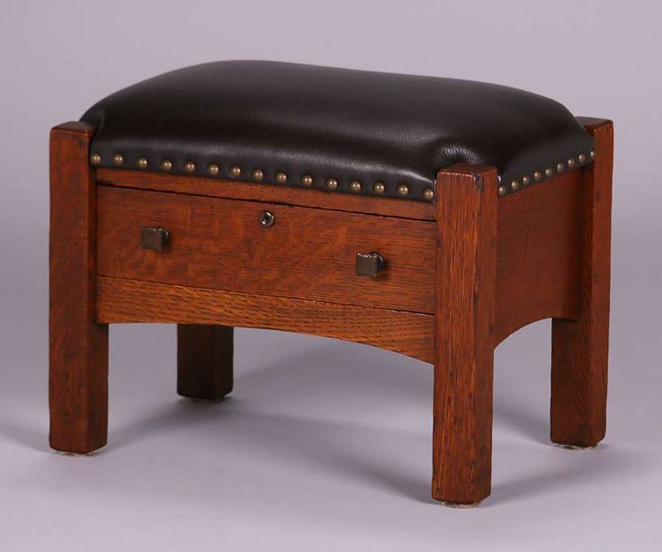 Limbert footstool with one drawer.  Signed with branded mark. Excellent original finish.