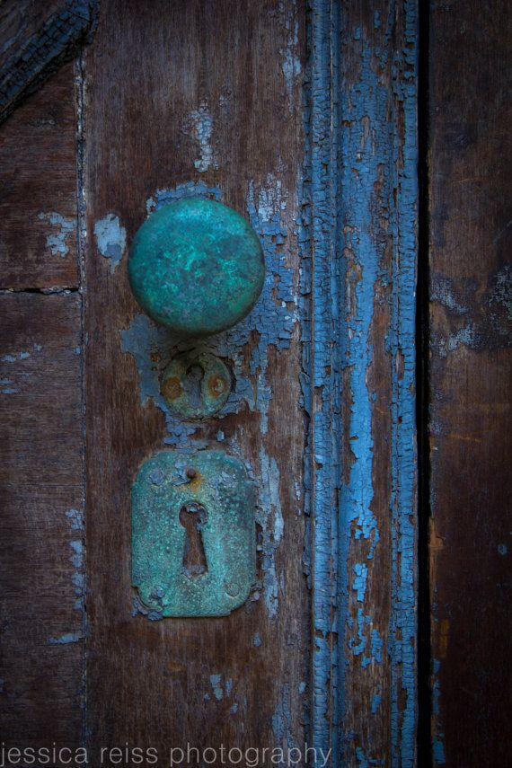 Old Rusted Teal Turquoise Baby Blue Door Knob Lock Vintage